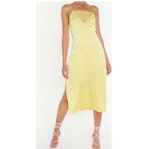 Nasty Gal Satin lace split side midi dress